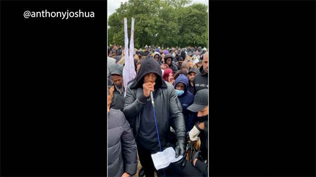 'We can no longer remain silent' - Anthony Joshua gives speech at Black Lives Matter march
