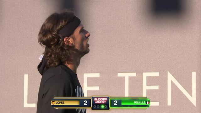 Bizarre scenes as Lopez explains to umpire he's won at Ultimate Tennis Showdown