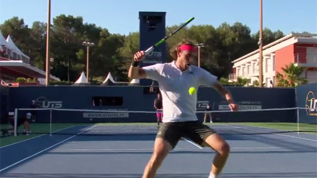 Ouch! Stefanos Tsitsipas goes for the tweener at Ultimate Tennis Showdown - and misses