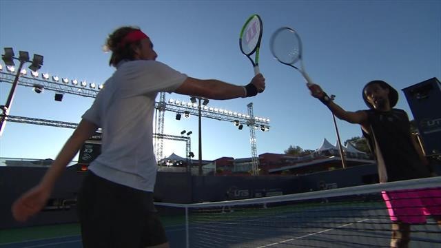 Ultimate Tennis Showdownhighlights: Stefanos Tsitsipas powers past Dustin Brown
