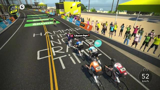 Ryan Gibbons sprints to win on Stage 1 of Virtual Tour de France