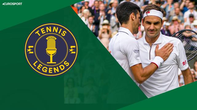 Stefan Edberg and Boris Becker role play as Roger Federer and Novak Djokovic