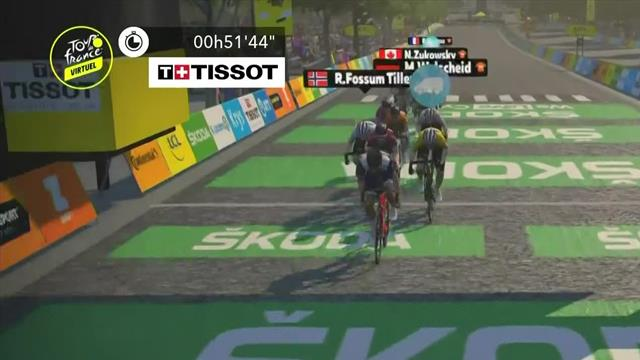 Will Clarke wins final stage on virtual Champs Elysees