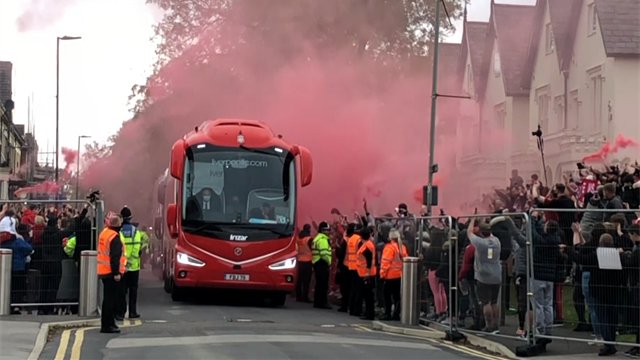 Liverpool fans celebrate Premier League title wildly outside Anfield