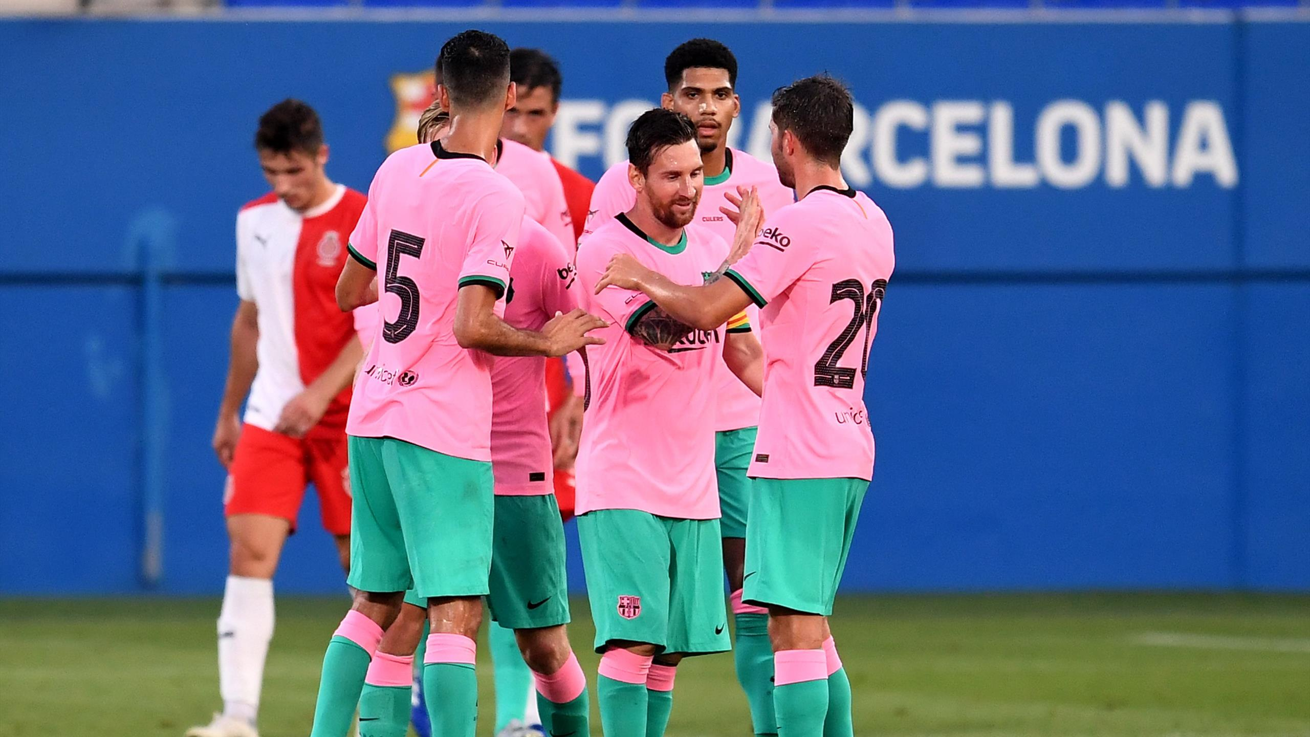 watch lionel messi score wonderful goal in new barcelona pink third kit against girona eurosport barcelona pink third kit against girona