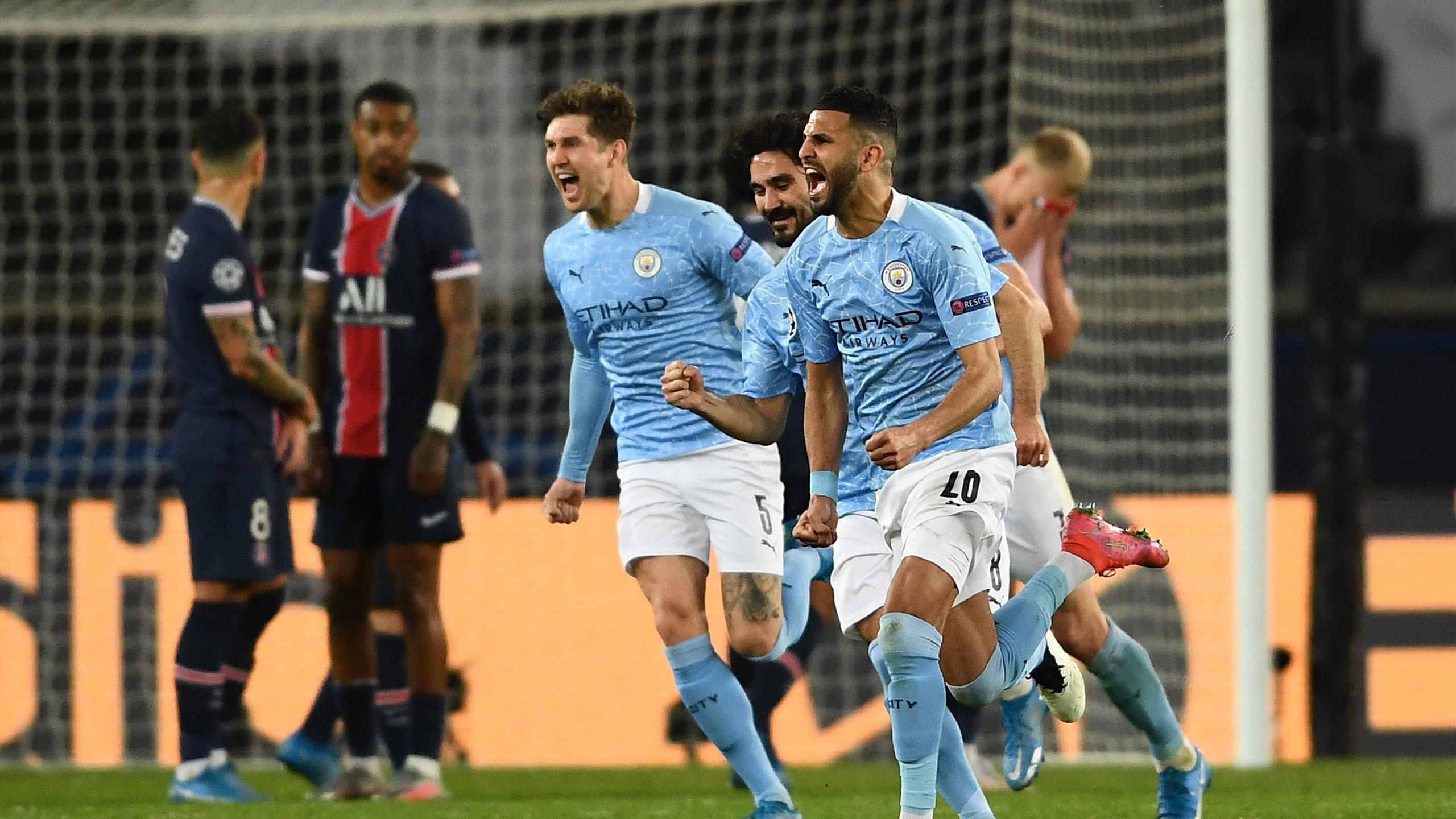Riyad Mahrez free-kick gives City away win as ten-man PSG fall to pieces in  chaotic second-half - Eurosport