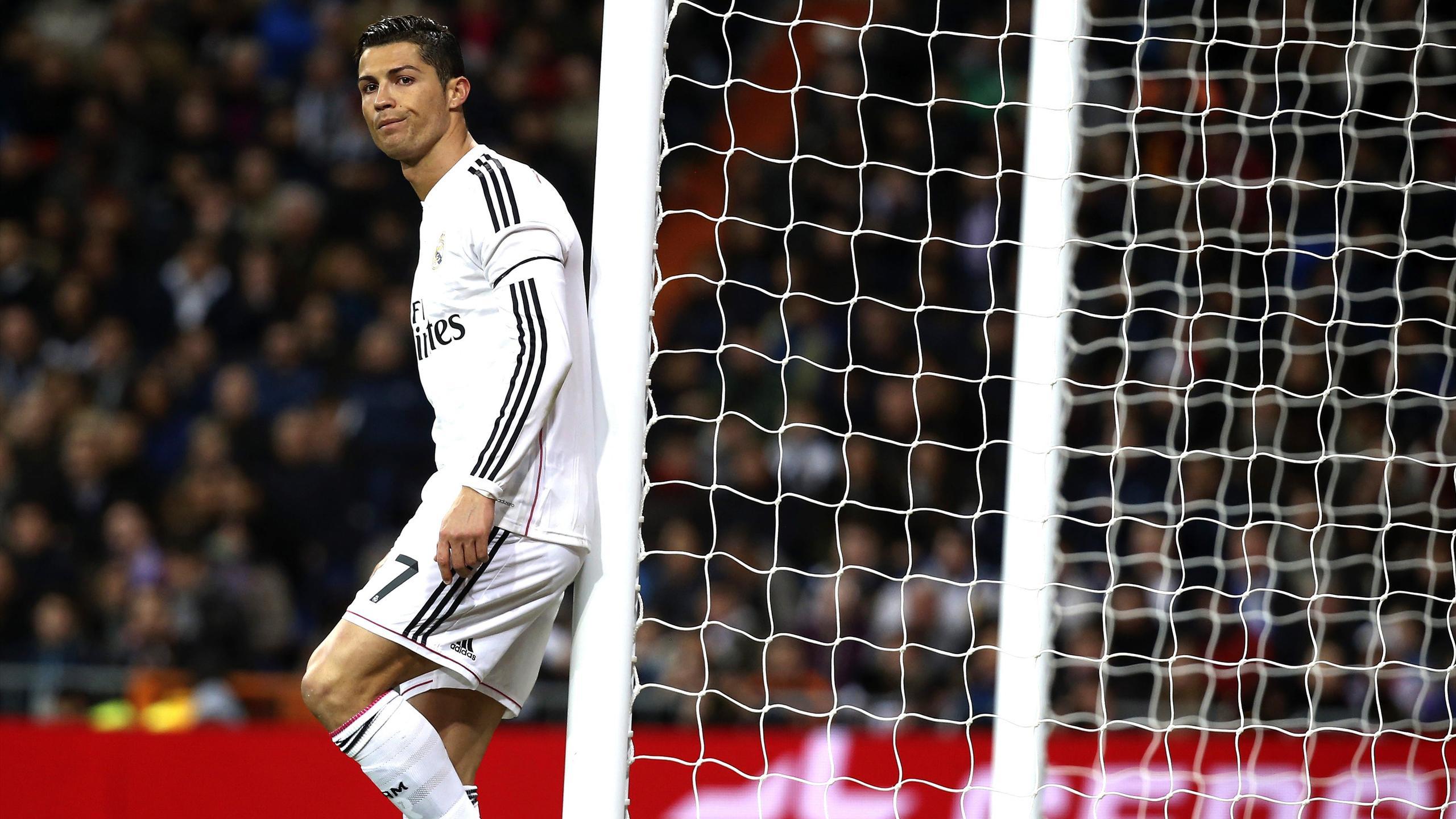 Cristiano Ronaldo reacts during the Liga match against Levante at Santiago Bernabeu.