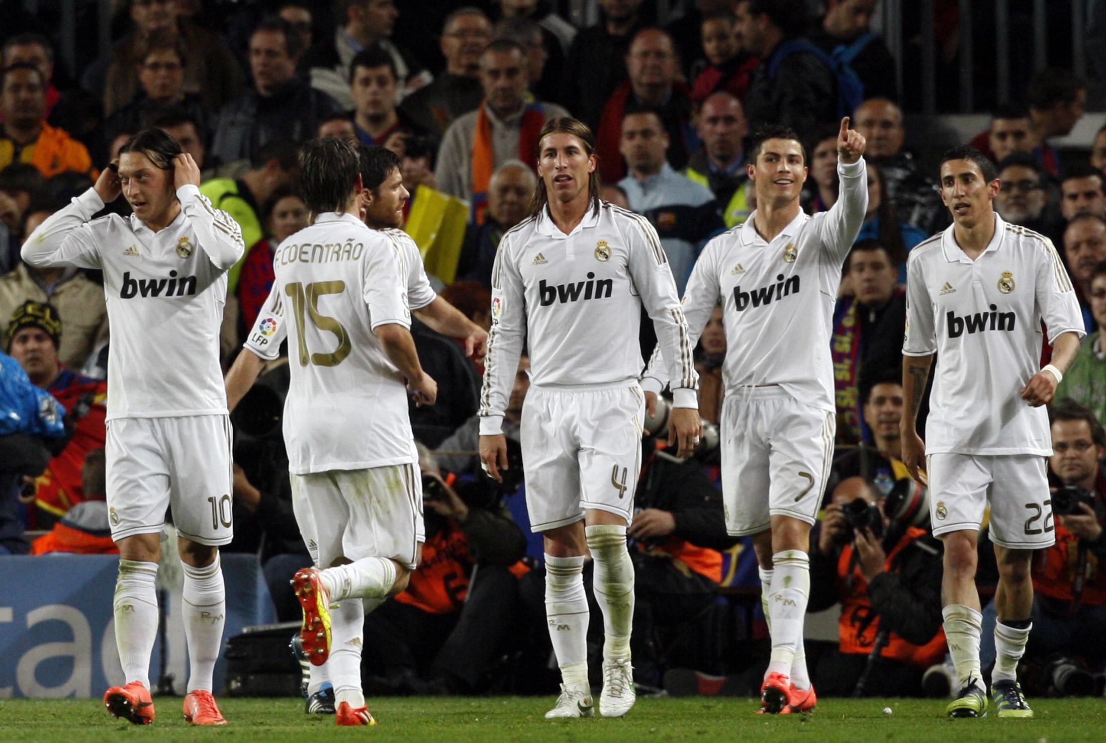 Cristiano Ronaldo celebrates during Real Madrid's last Liga win in Barcelona in April 2012.
