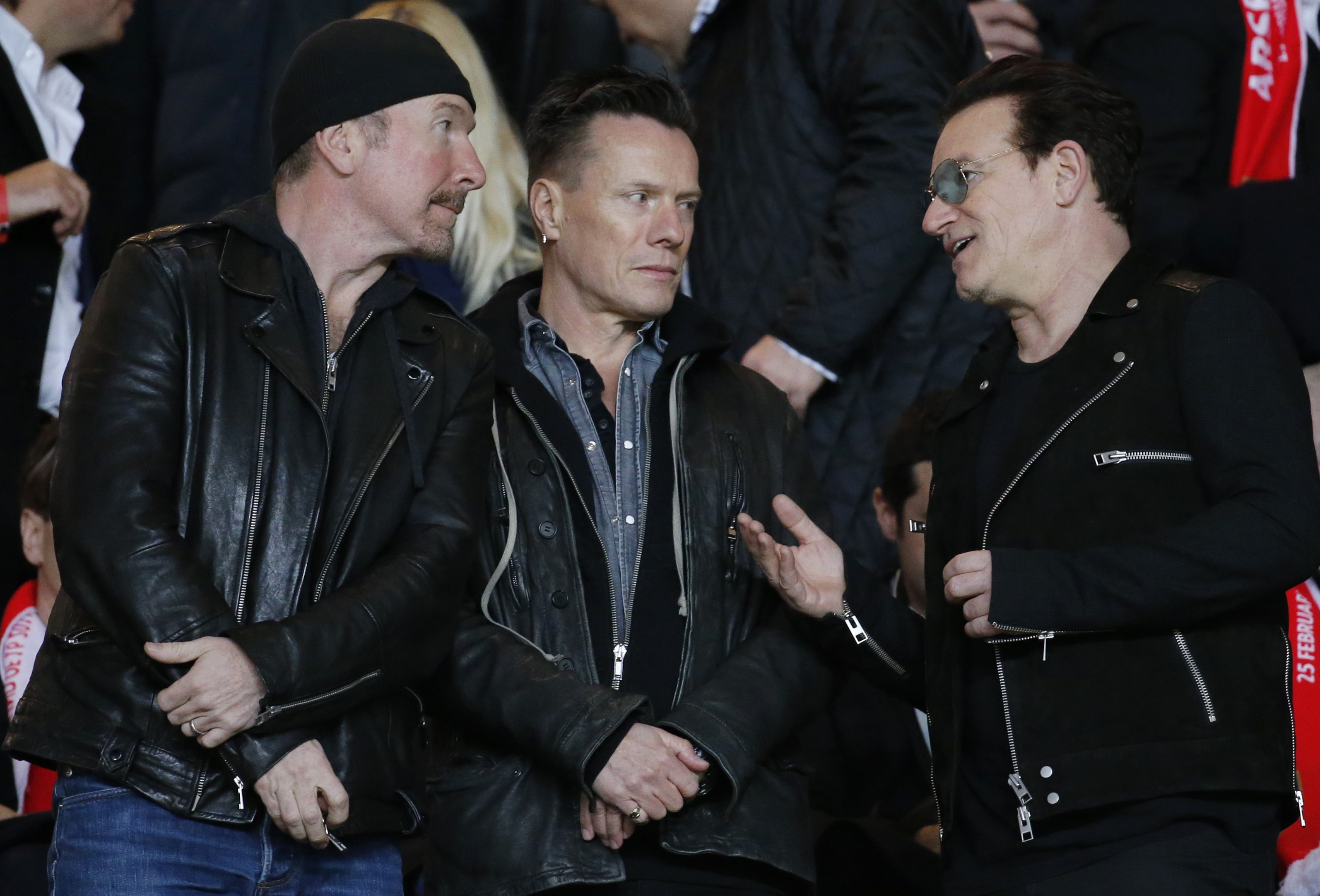 The Irish rock band U2 were among the crowd as Arsenal tumbled out.