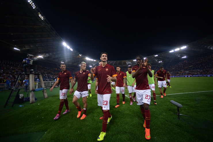 Roma players after beating Fiorentina