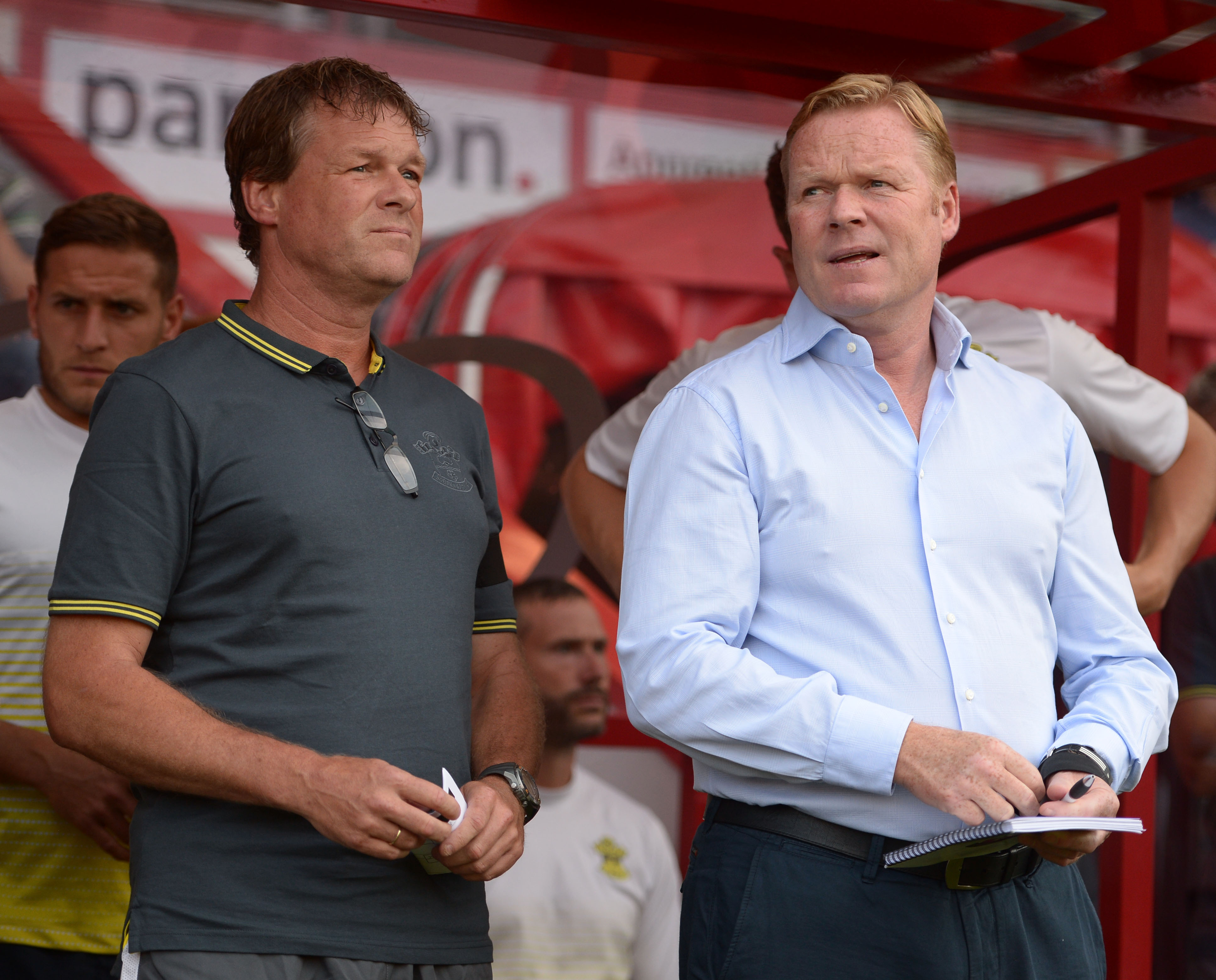 Southampton's Manager Ronald Koeman (right) with his assistant and brother Erwin Koeman (left)