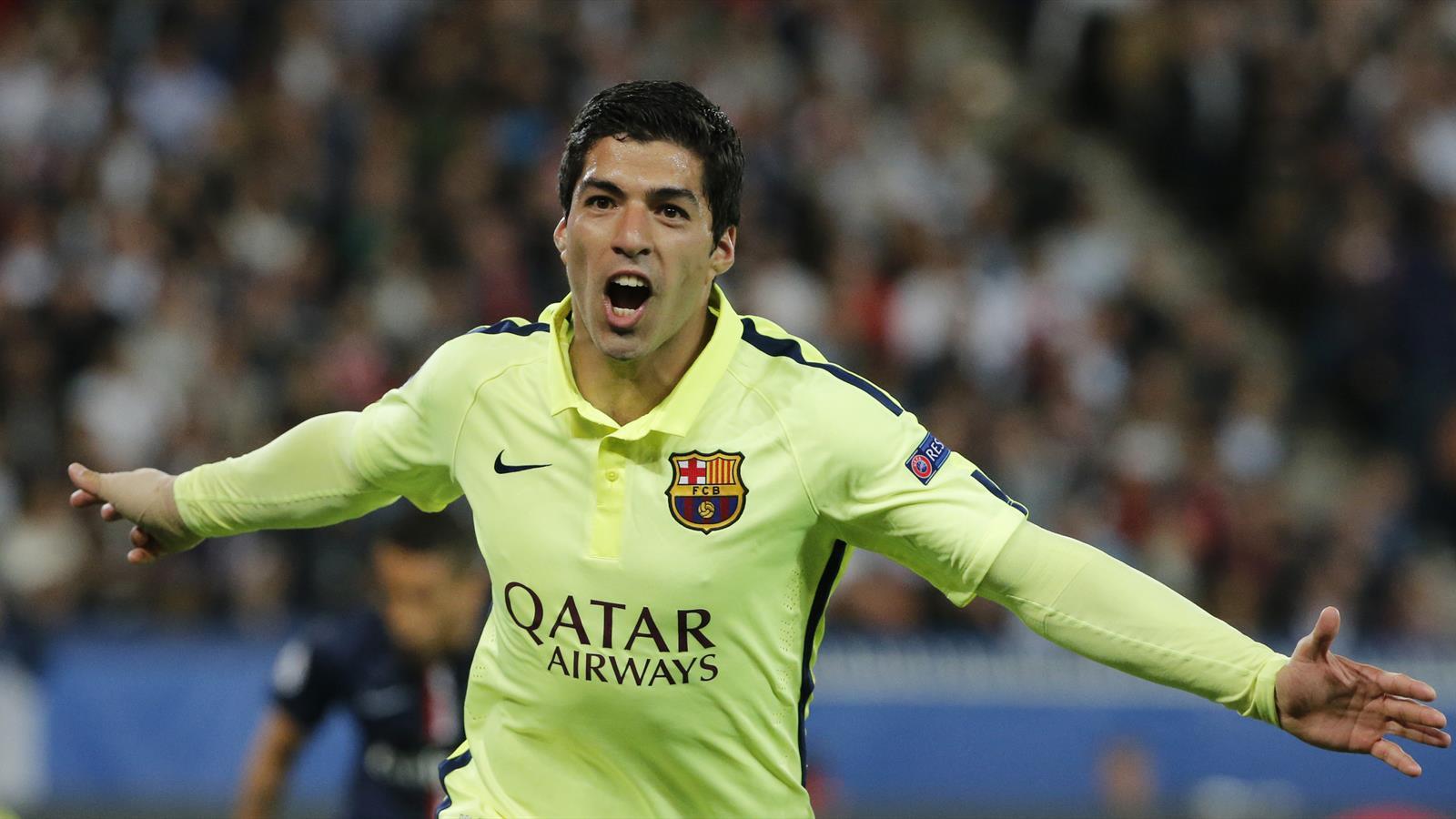 Luis Suarez scored twice in a 3-1 win at Paris Saint-Germain.