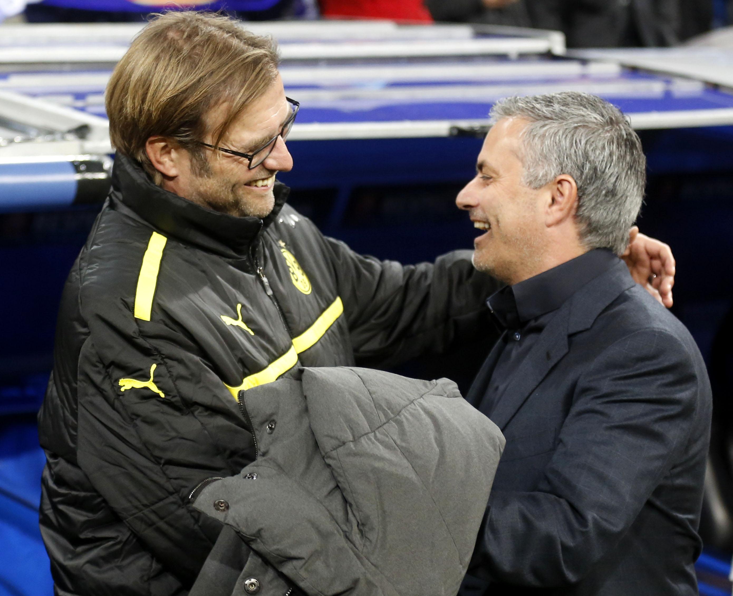 Jose Mourinho (R) and Jurgen Klopp in 2013 (Reuters)